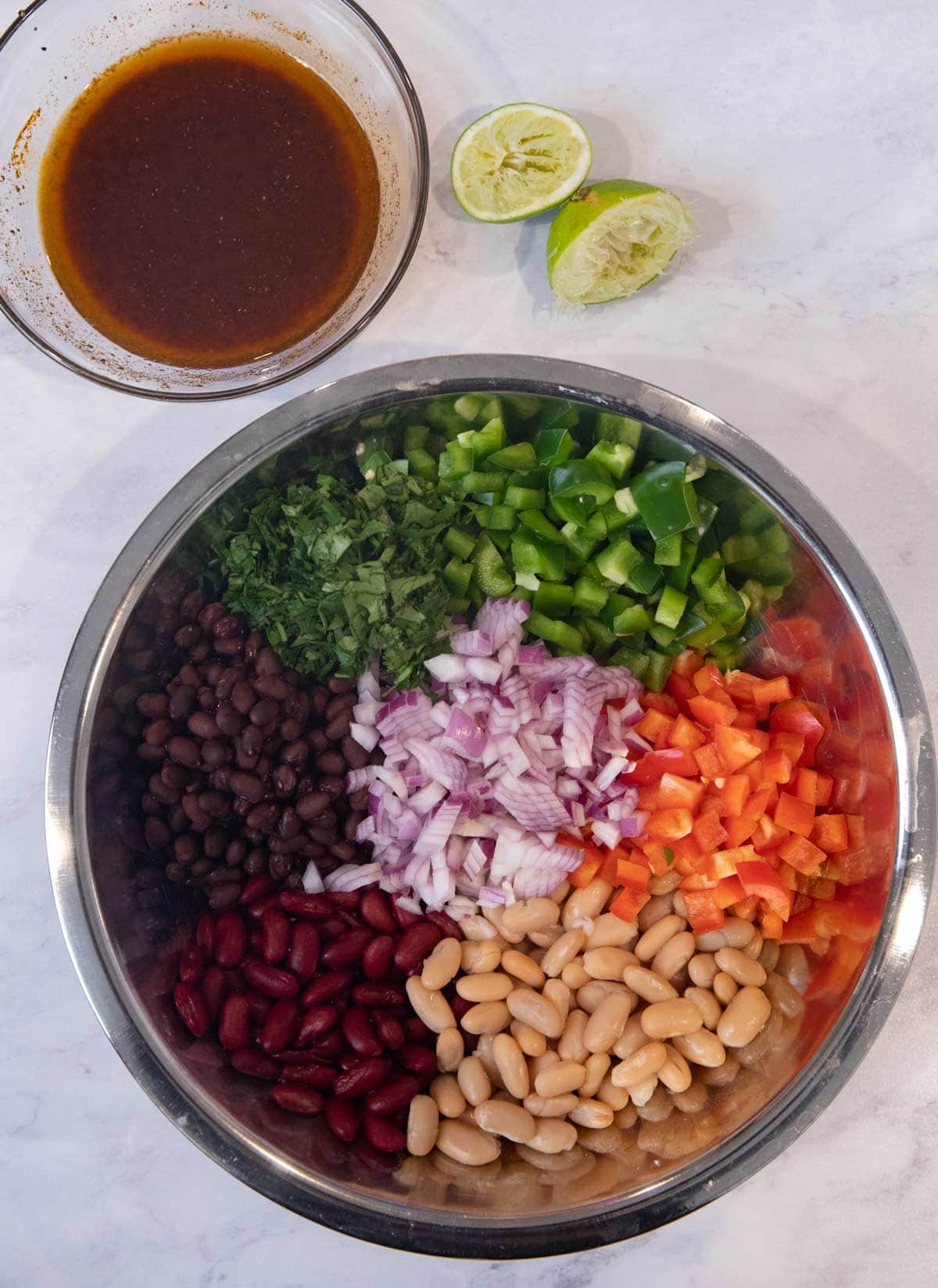 Mexican Bean Salad ingredients in bowl