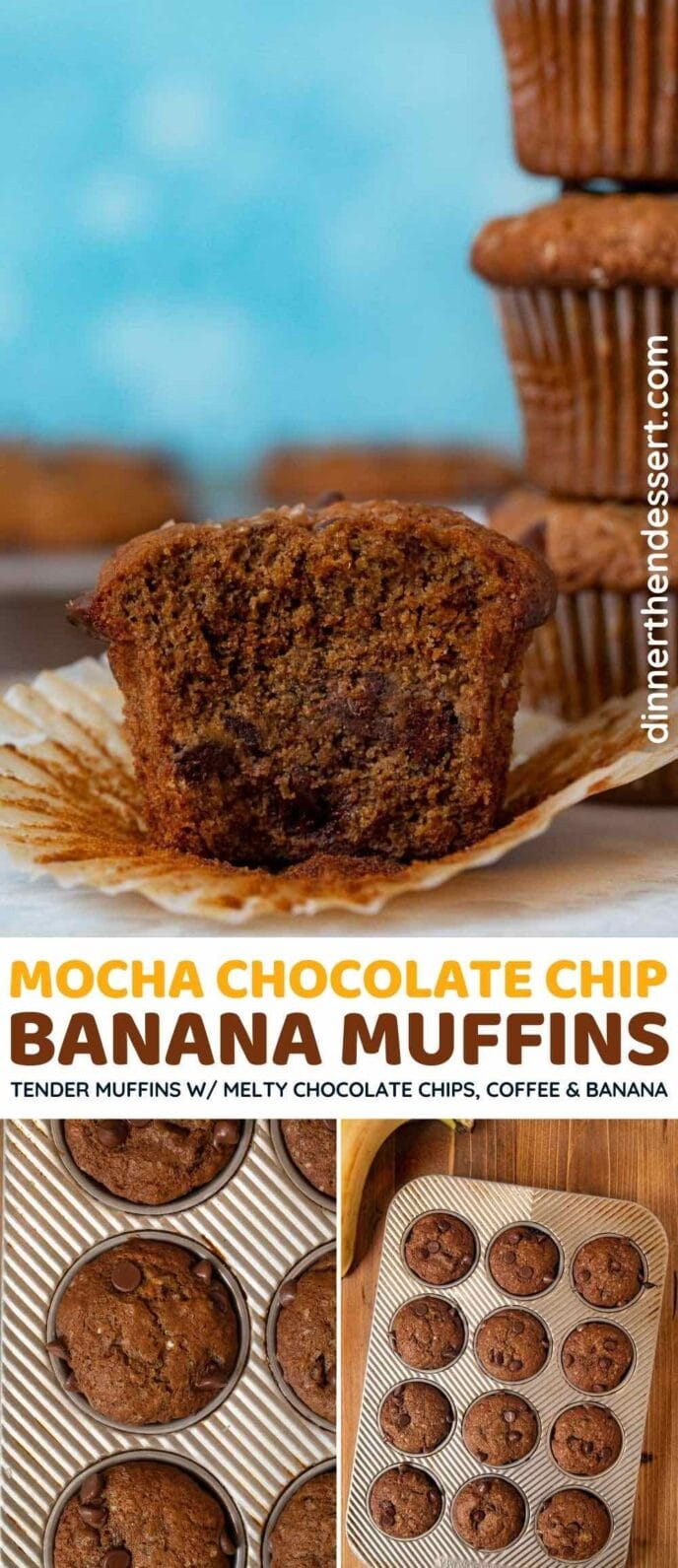 Mocha Chocolate Chip Banana Muffins collage