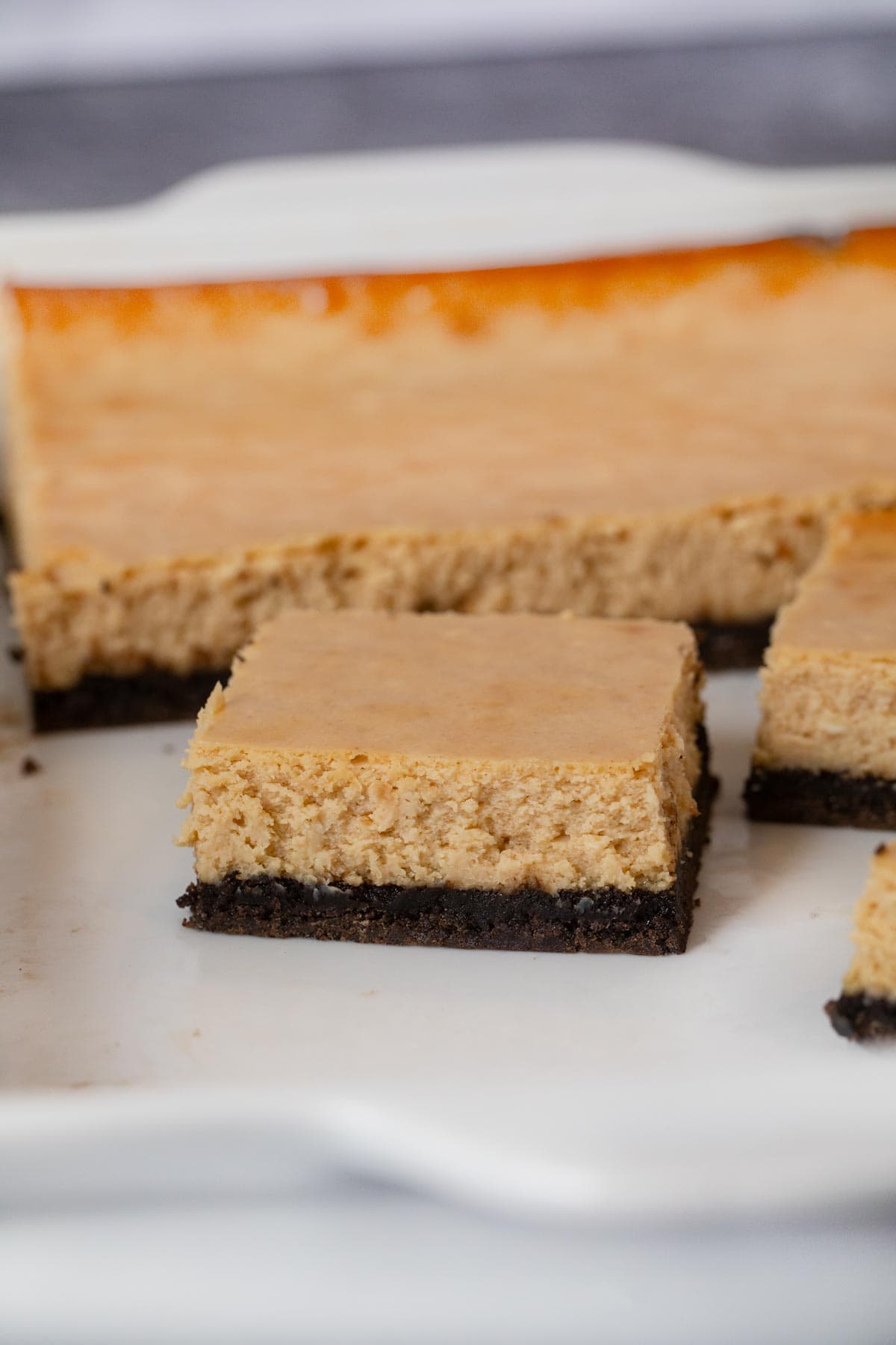 Peanut Butter Cheesecake Bars in baking dish