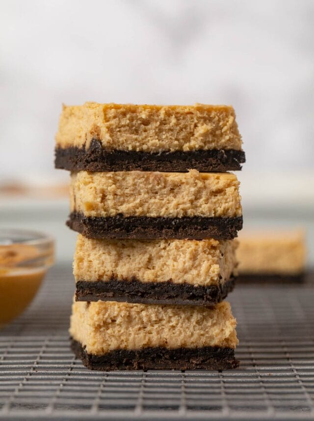 Peanut Butter Cheesecake Bars in stack