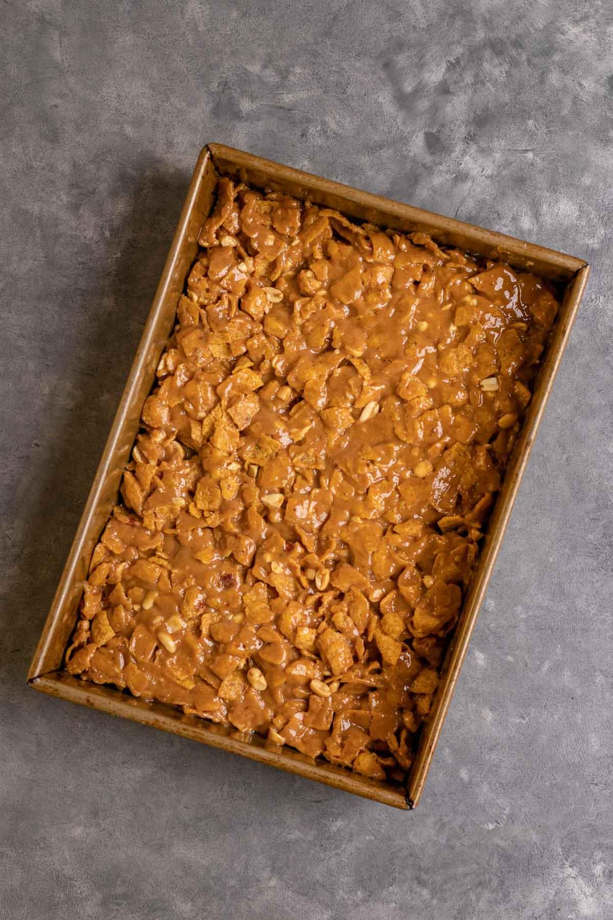 Peanut Fritos Bars in rectangle pan