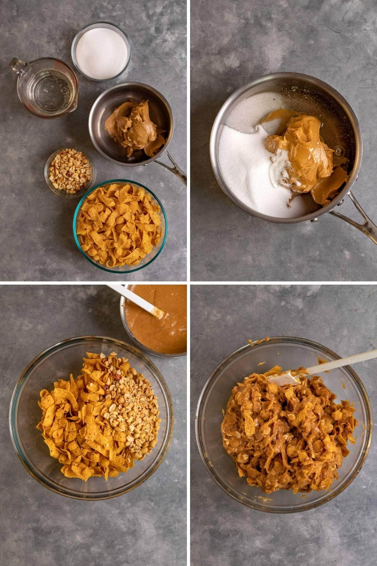 Collage of prep steps for Peanut Fritos Bars