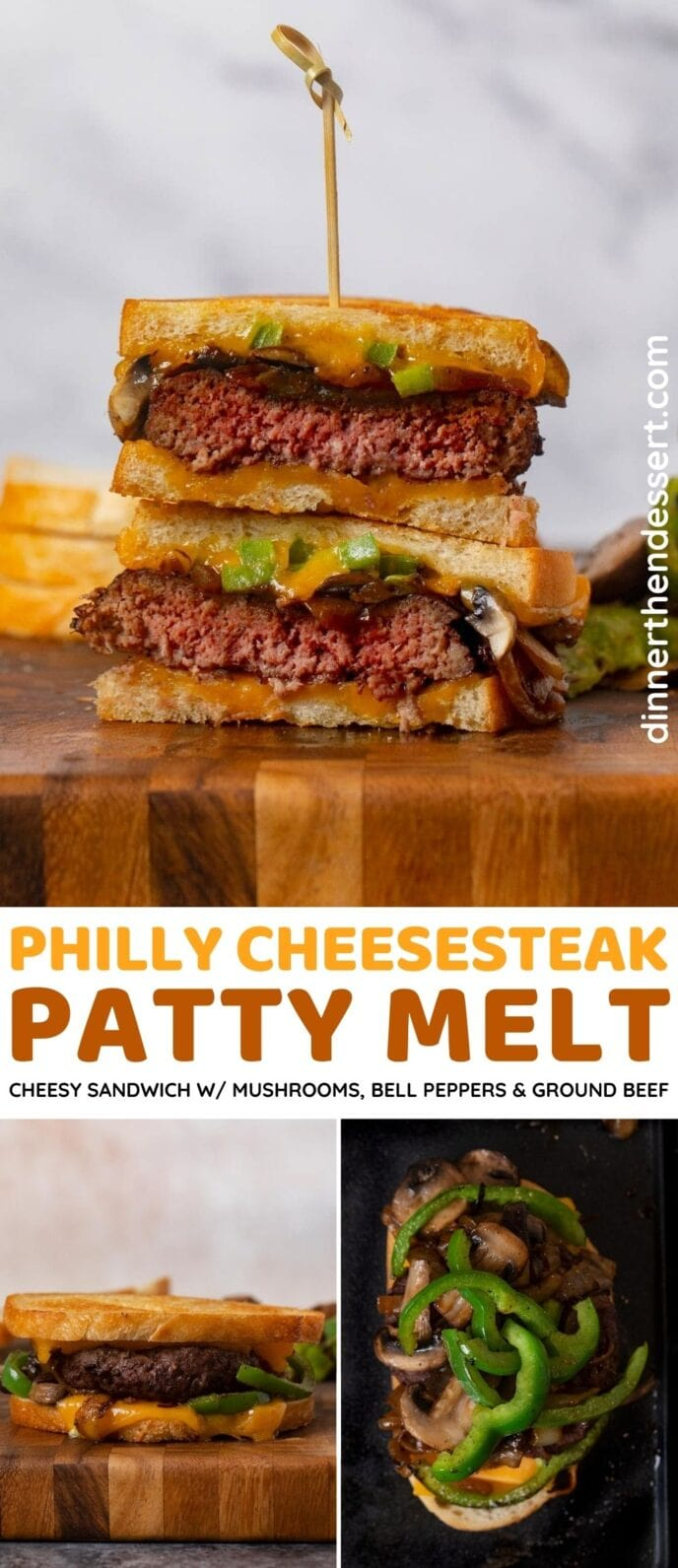 Philly Cheesesteak Patty Melt collage