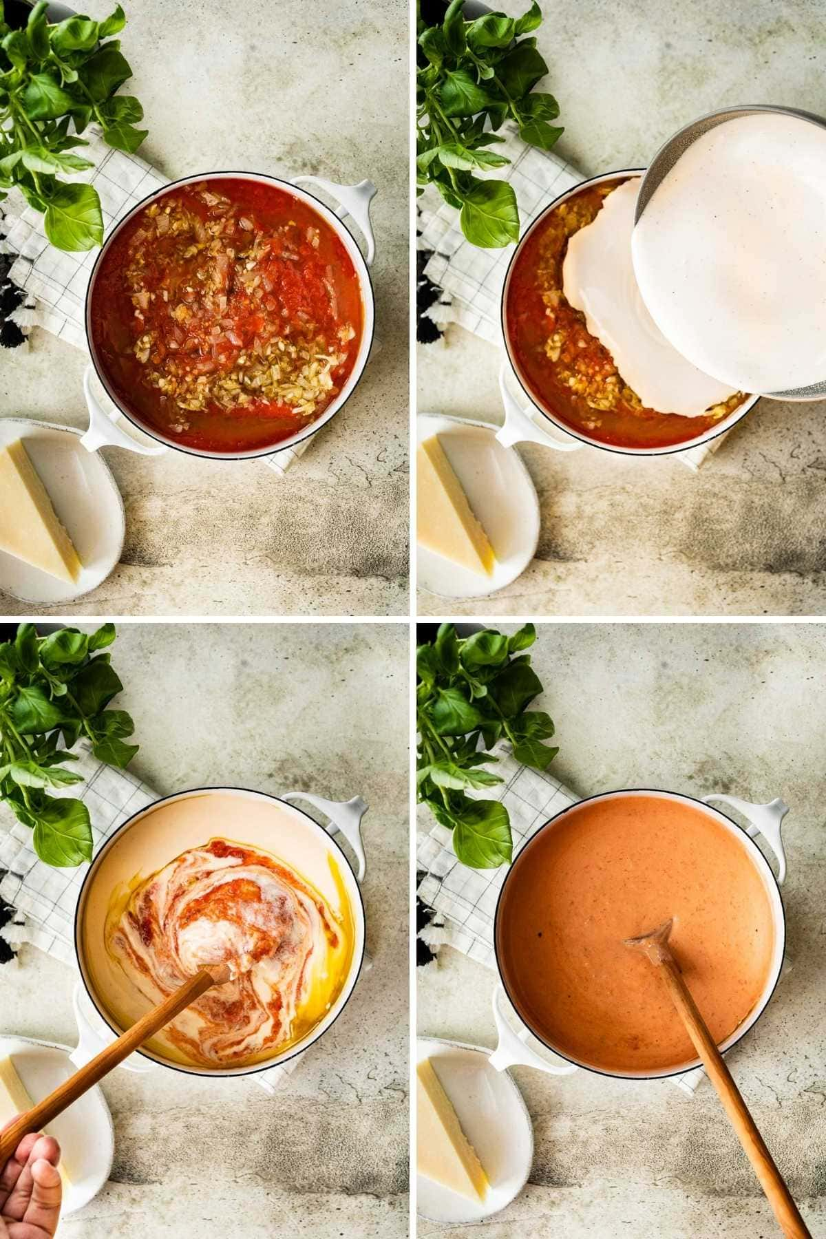 Collage of prep steps for Pink Sauce Pasta