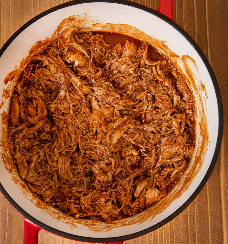 Shredded BBQ Chicken in pot