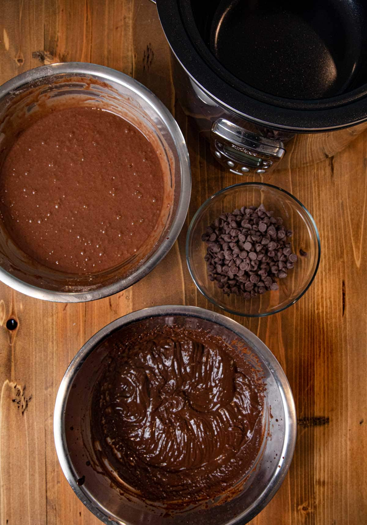 Slow Cooker Lava Cake ingredients in bowls