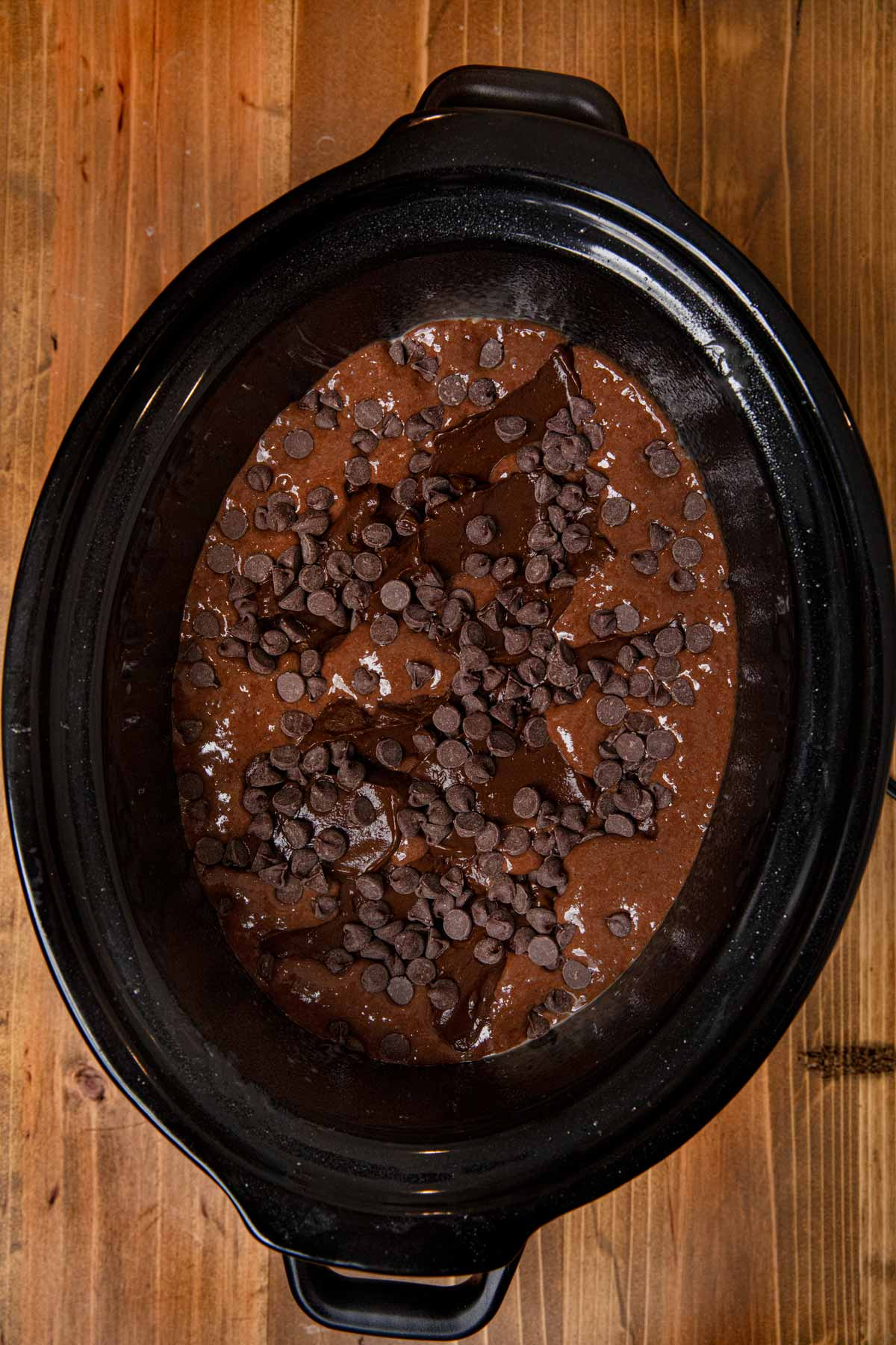 Slow Cooker Lava Cake in slow cooker before cooking