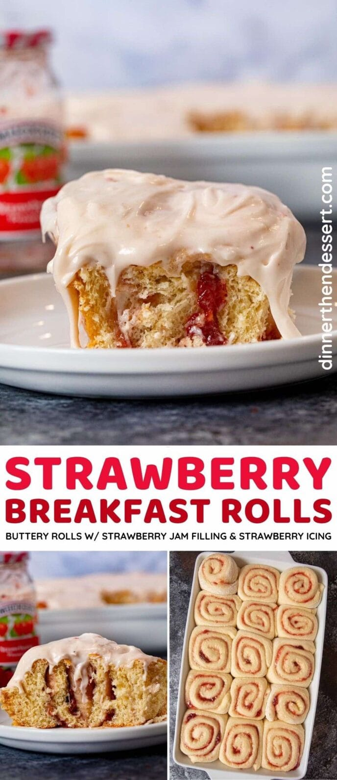 Strawberry Breakfast Rolls collage