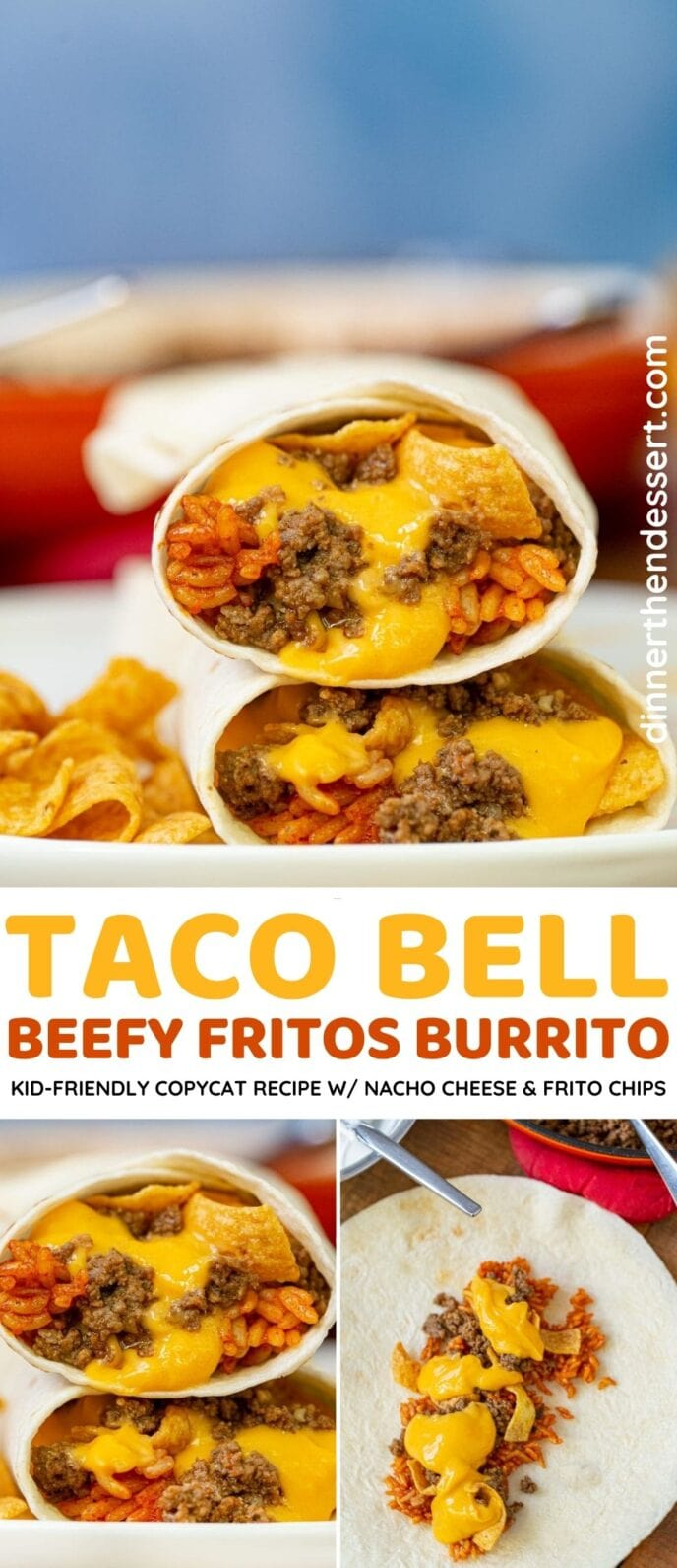 Taco Bell Beefy Fritos Burrito collage