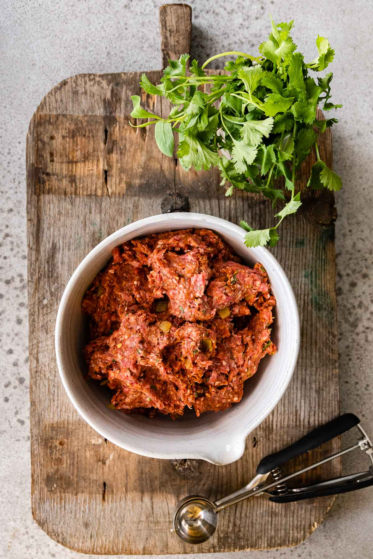 Taco Meatballs meat mixture in bowl