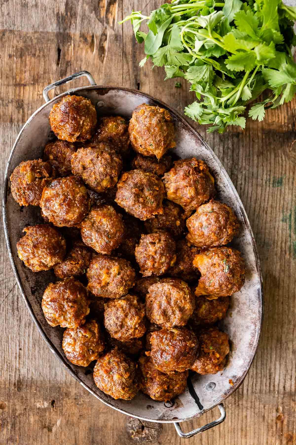 Taco Meatballs on serving platter