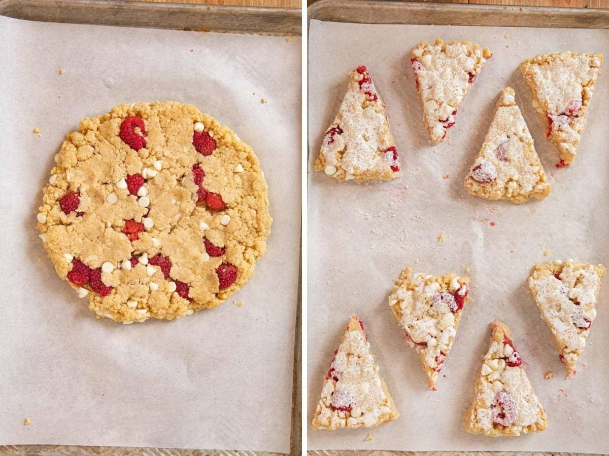 White Chocolate Raspberry Scones in dough circle and sliced into eighths