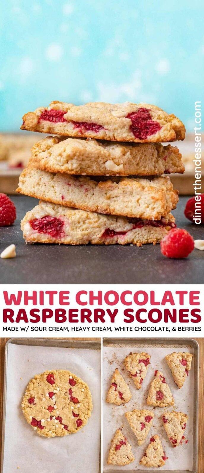 White Chocolate Raspberry Scones collage
