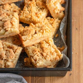 Apple Crumb Bars in baking dish