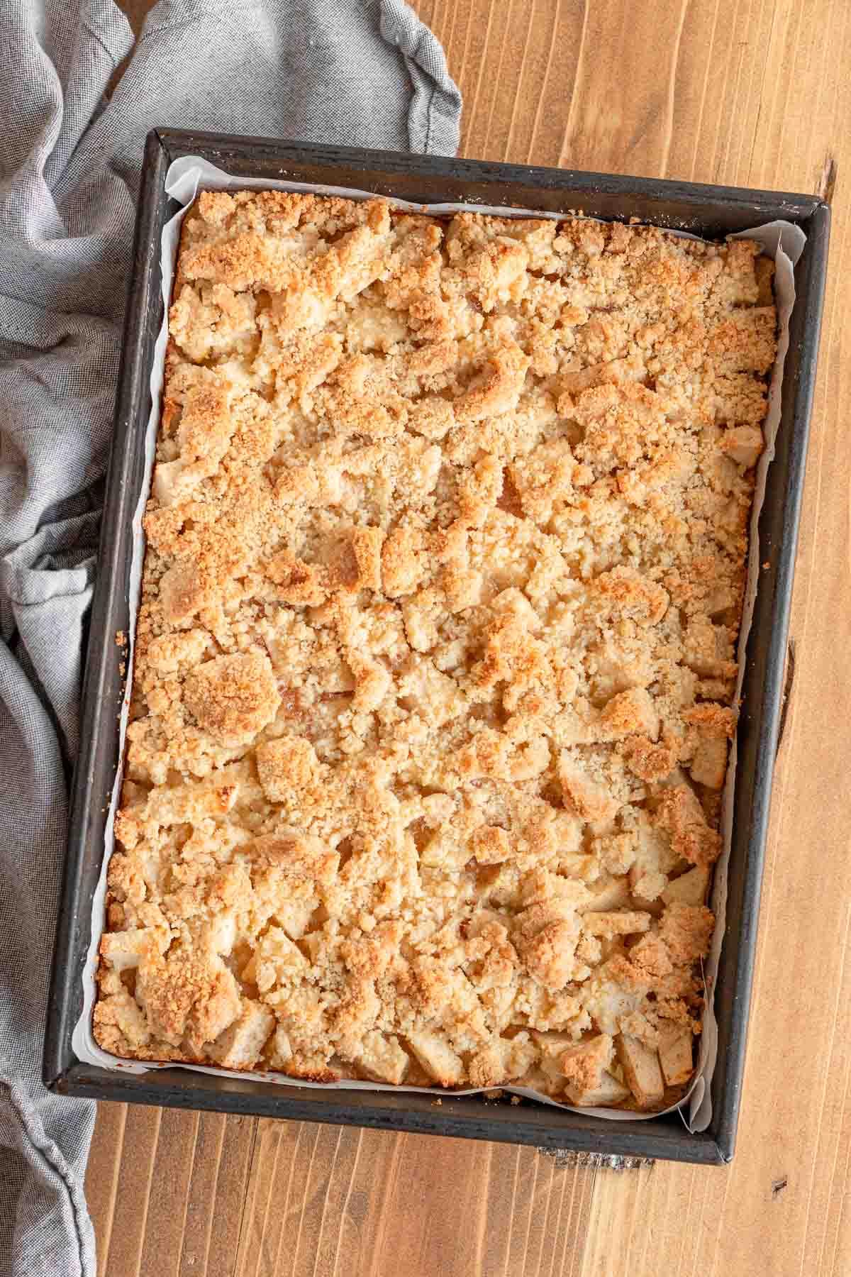 Baked Apple Crumb Bars in baking dish