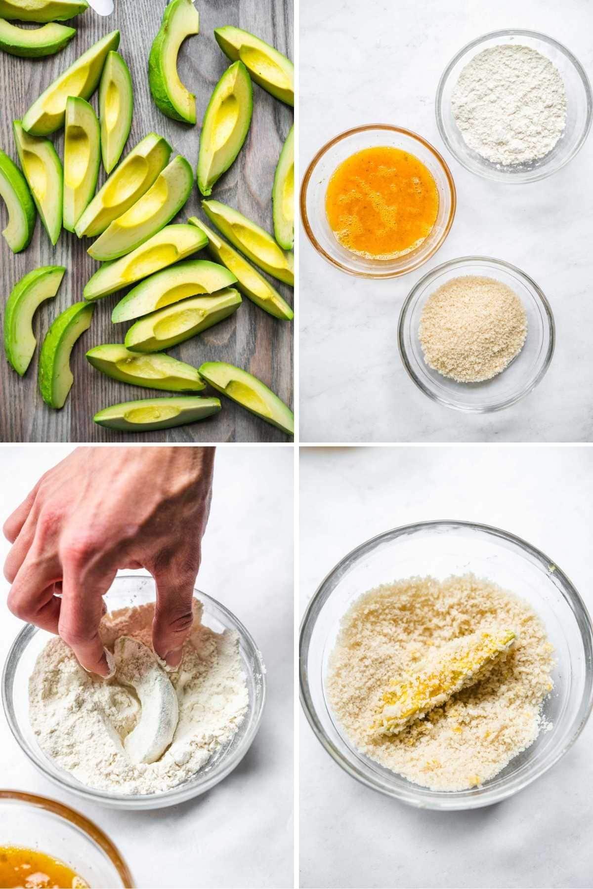 Avocado Fries collage of prep steps