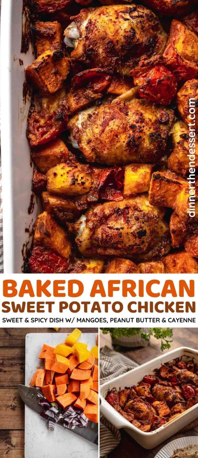 Baked African Sweet Potatoes and Chicken collage
