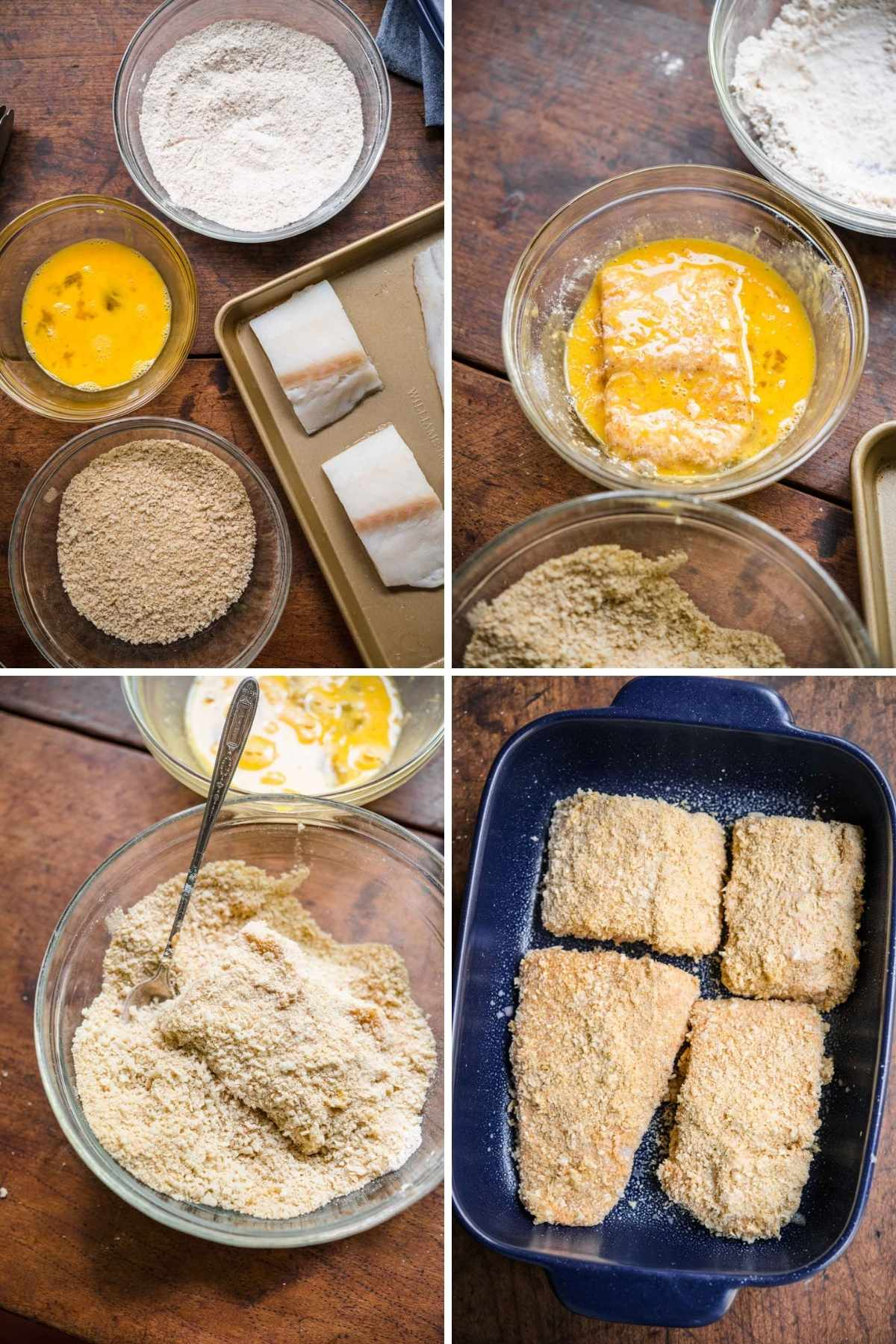 Baked Cod collage of prep steps