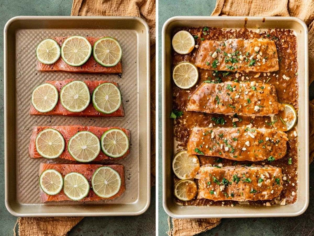 Baked Thai Peanut Salmon before and after baking