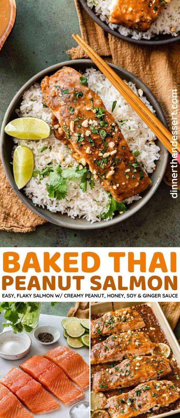 Baked Thai Peanut Salmon collage