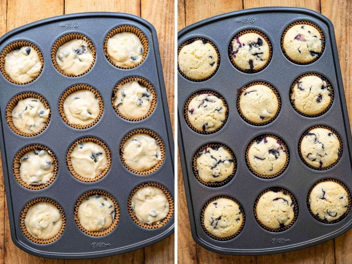 Blueberry Lemon Cupcakes in cupcake tin before and after baking