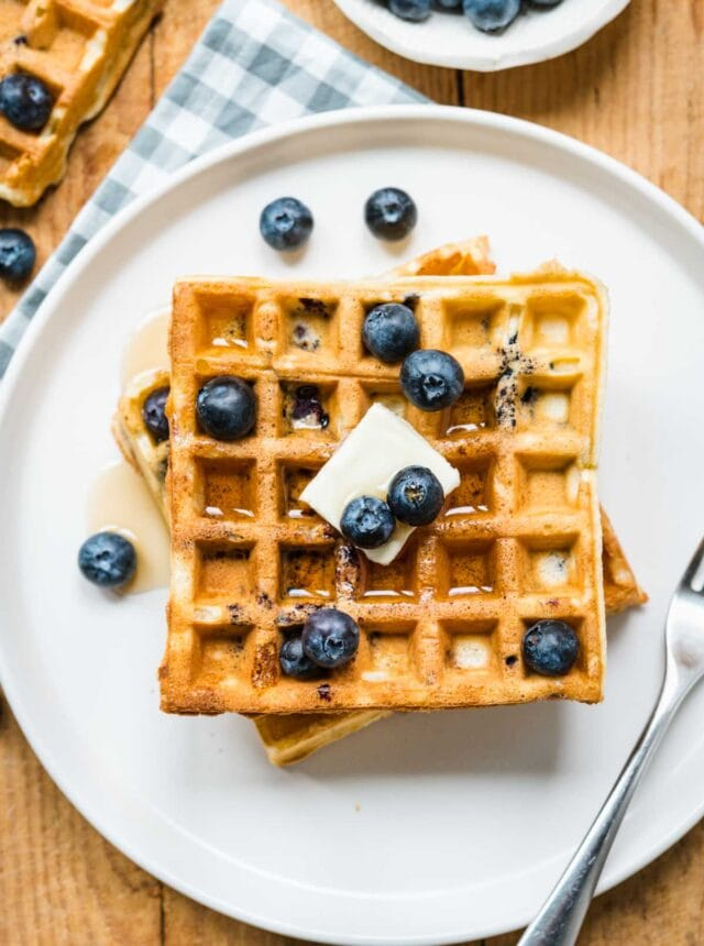 top-down view of Blueberry Waffles on plate