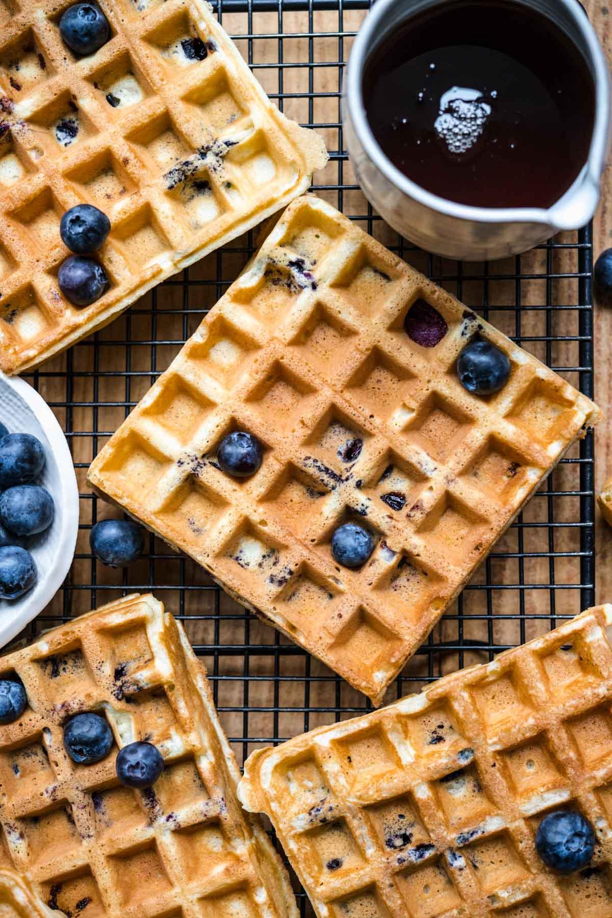Blueberry Waffles on cutting board