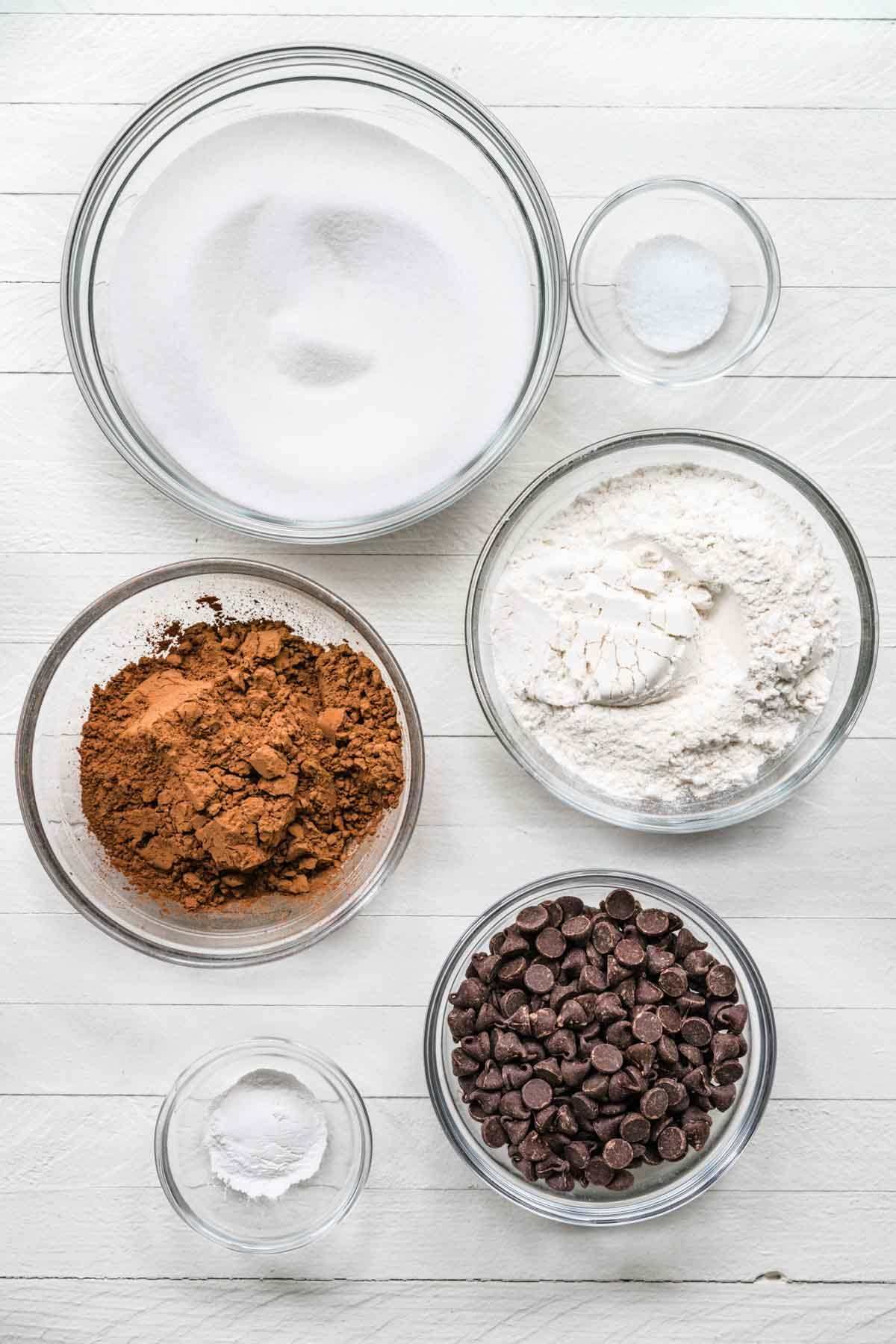 Prep bowls with ingredients for Brownies in a Jar
