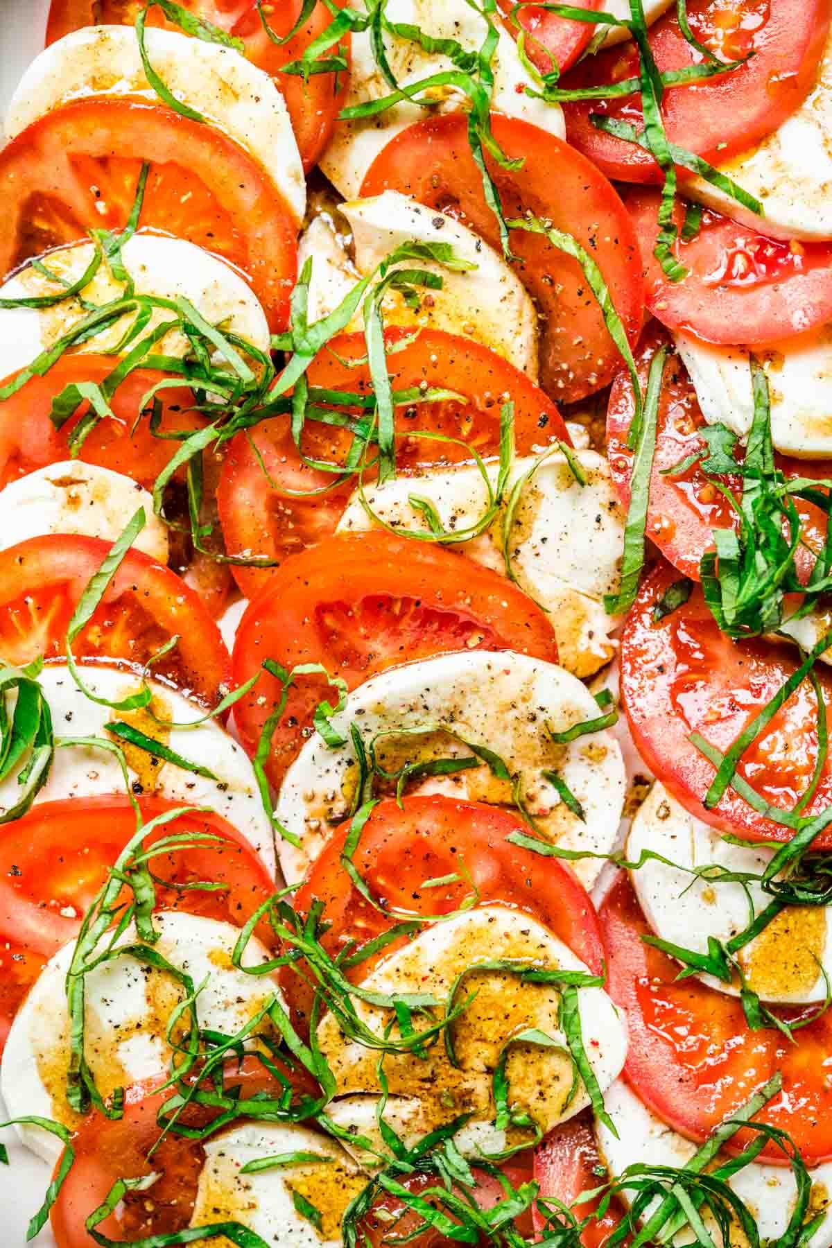 Close up of Tomato Mozzarella Salad