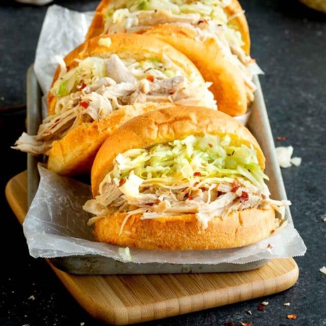 Carolina BBQ Vinegar Shredded Chicken in sandwich bun with coleslaw