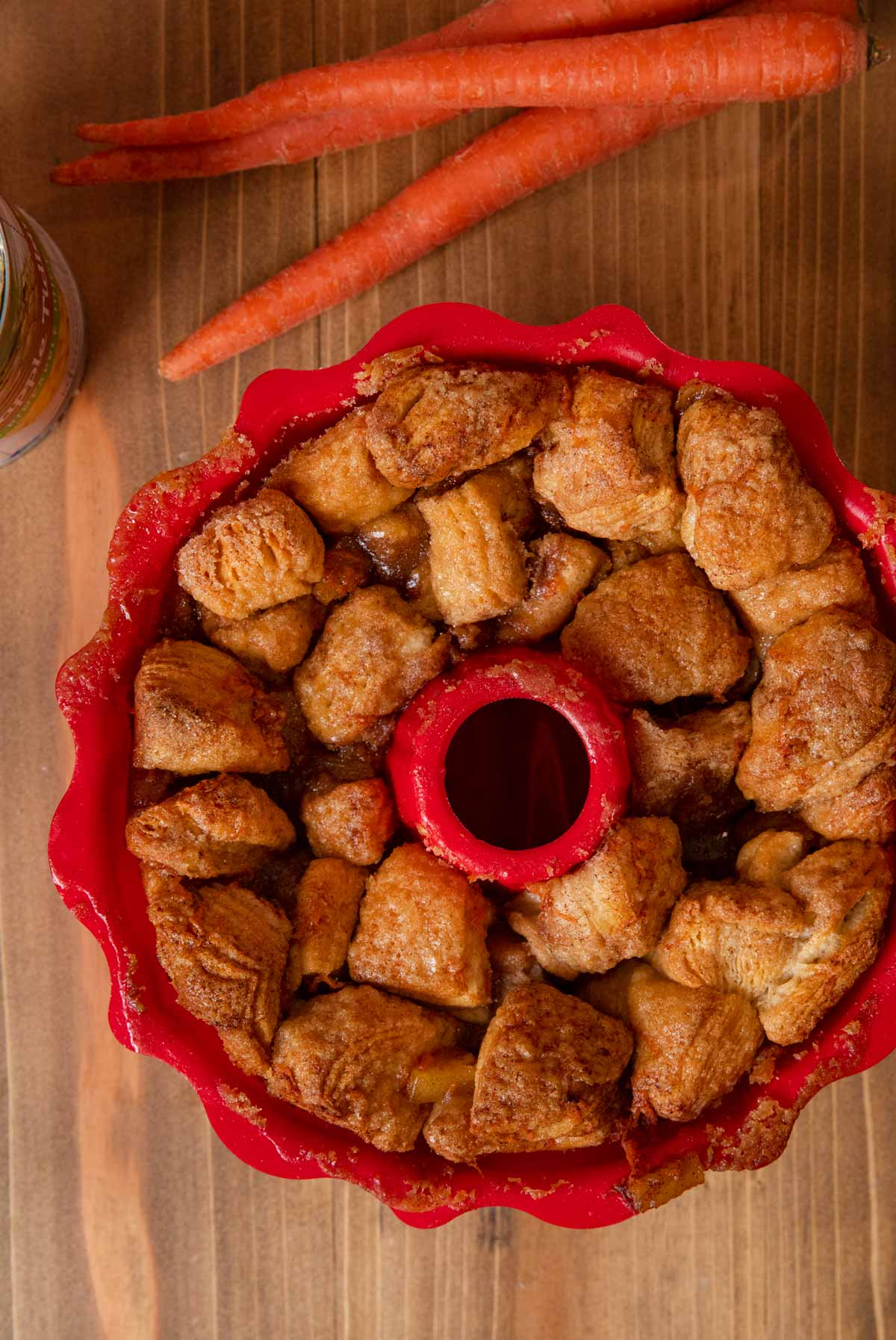Carrot Cake Monkey Bread in bundt pan after cooking