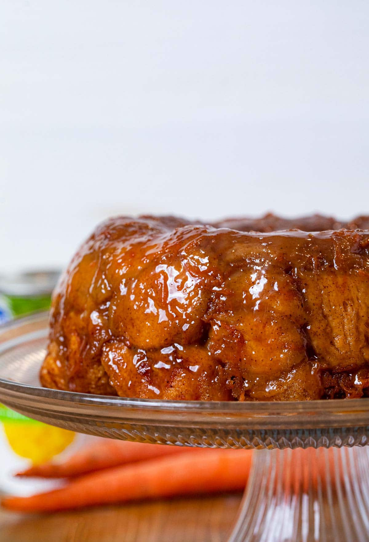 Carrot Cake Monkey Bread on cake stand