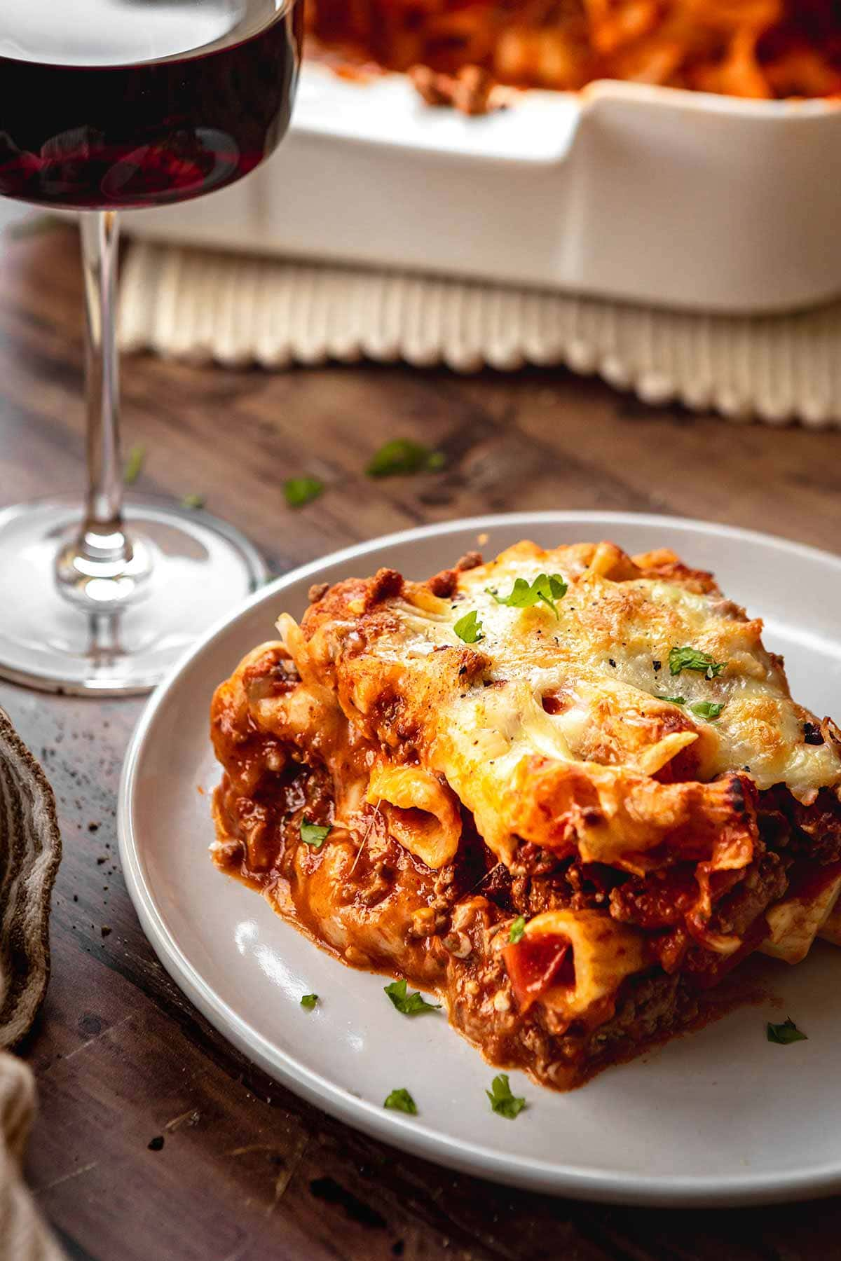 Cheesy Beef Pasta Bake square serving on a plate