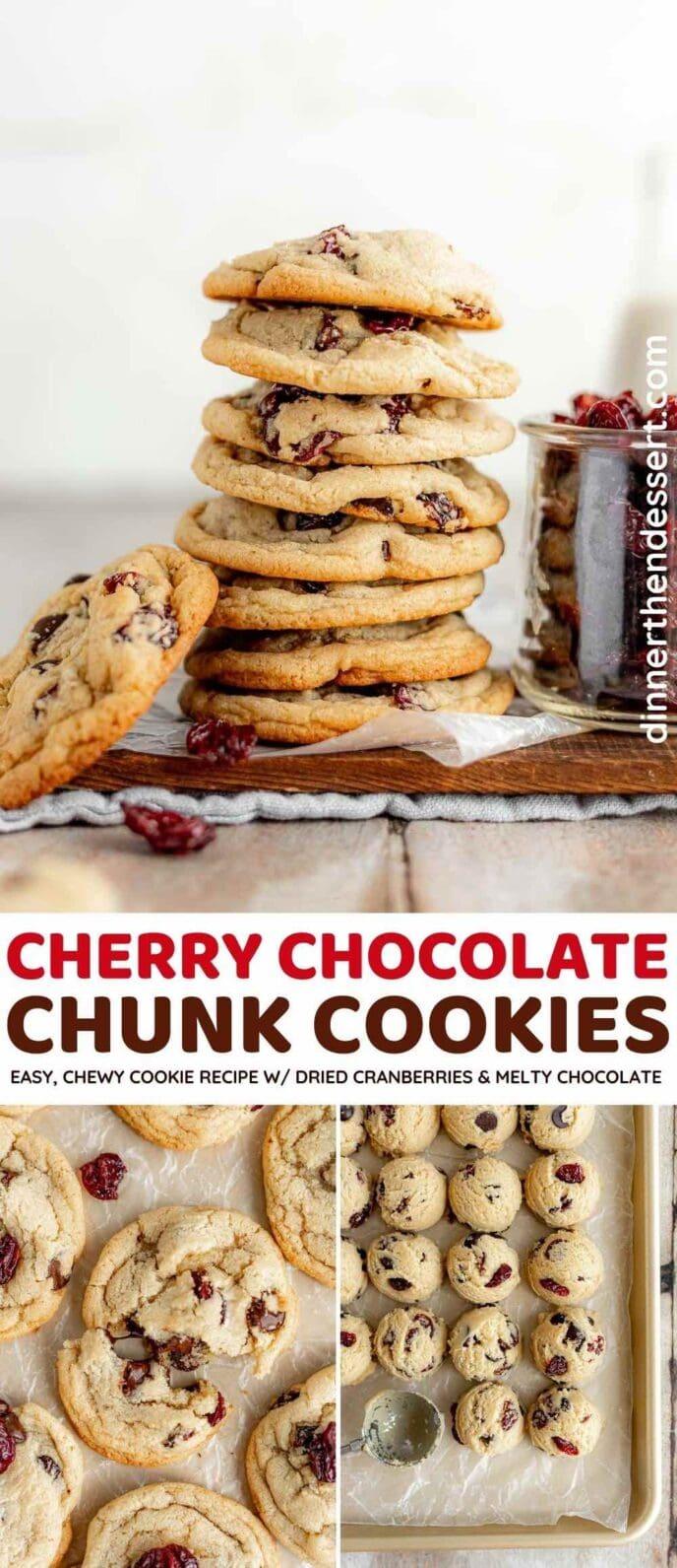 Cherry Chocolate Chunk Cookies collage