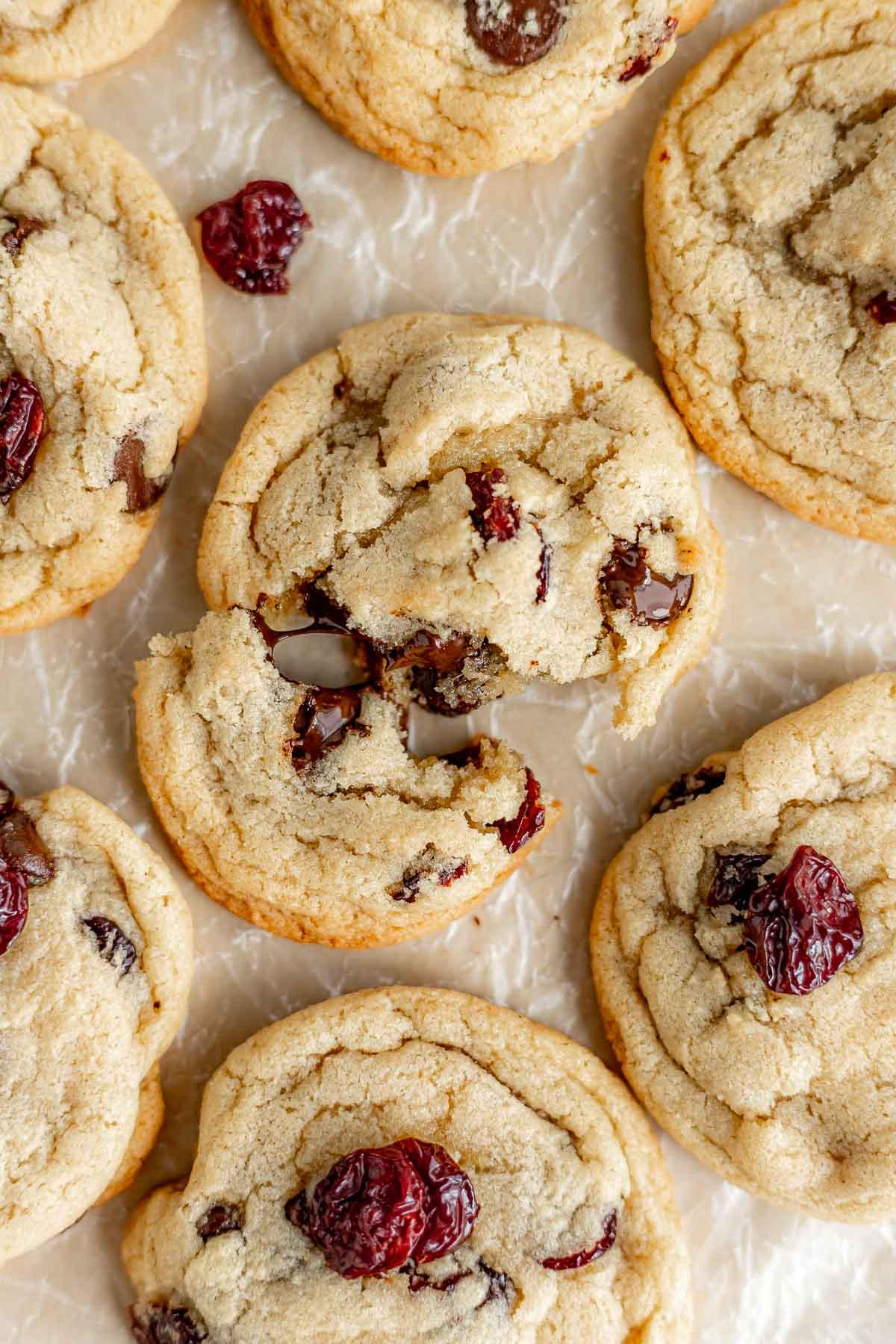 Cherry Chocolate Chunk Cookies on cookie sheet
