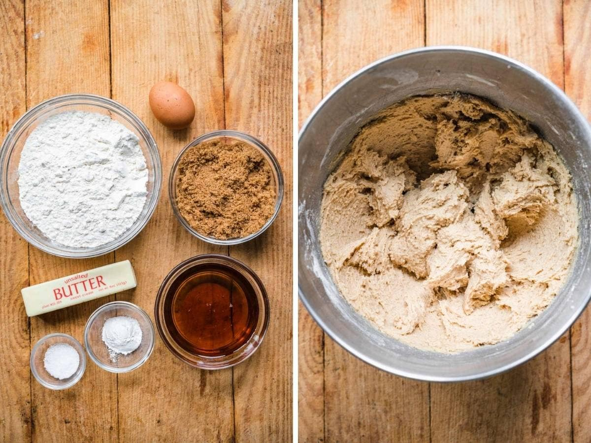 Chewy Maple Cookies ingredients before and after mixing