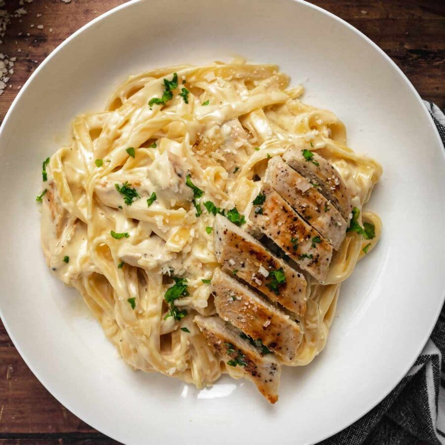 Chicken Alfredo Pasta serving on plate