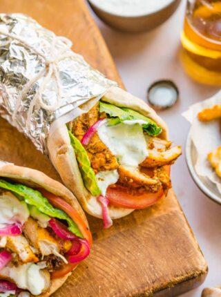 Chicken Shawarma wraps in tin foil