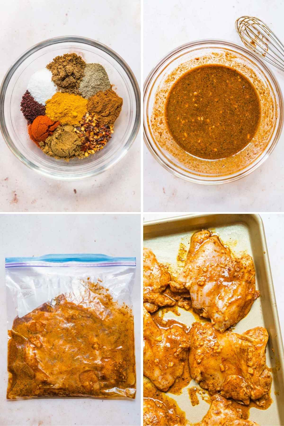 Chicken Shawarma collage of steps making sauce, marinating chicken, and placed on baking sheet