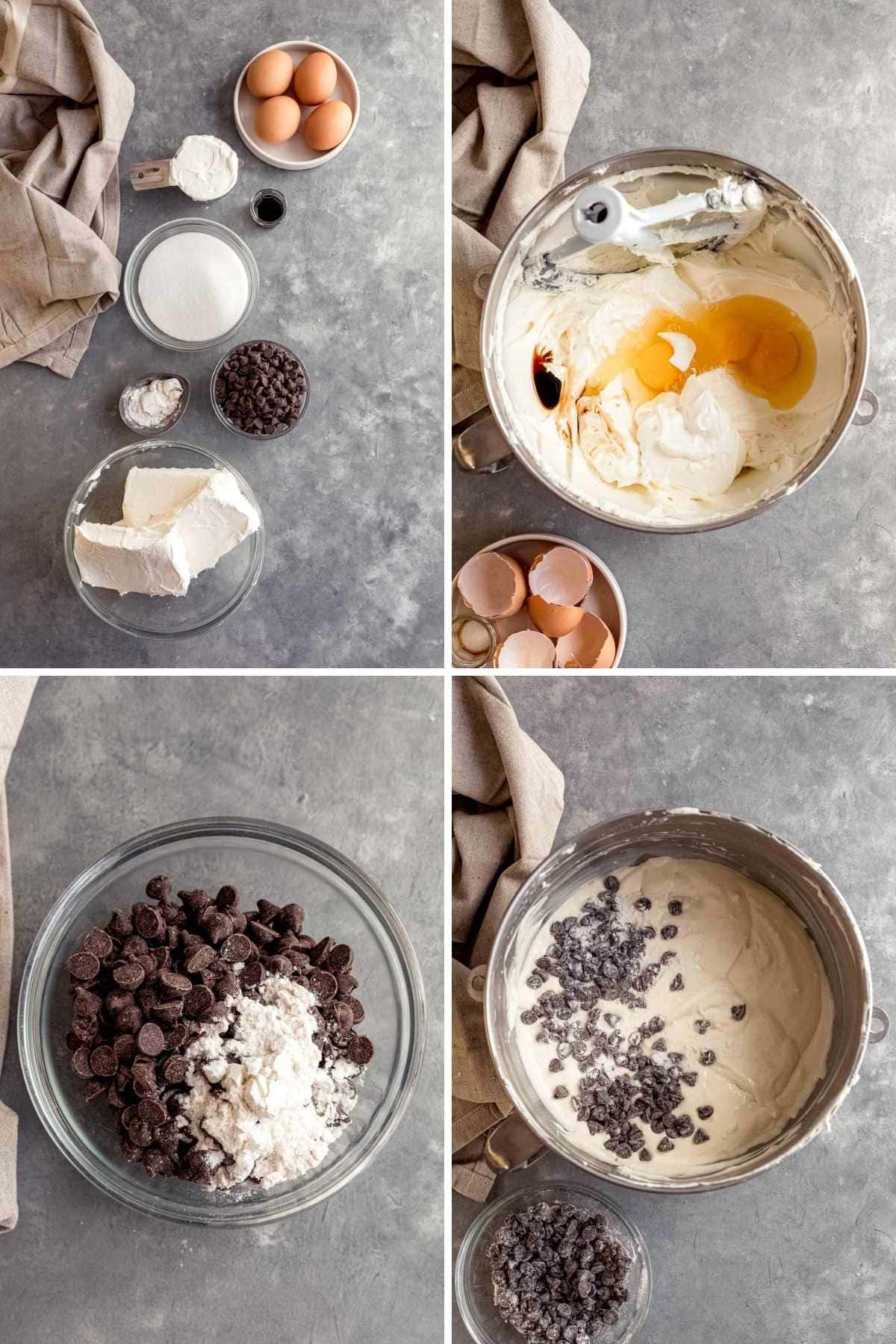 Collage of prep for Chocolate Chip Cheesecake Bars batter