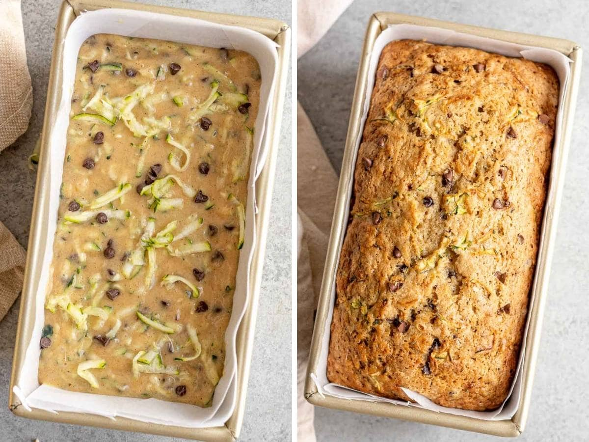 Chocolate Chip Zucchini Bread in loaf pan, before and after baking