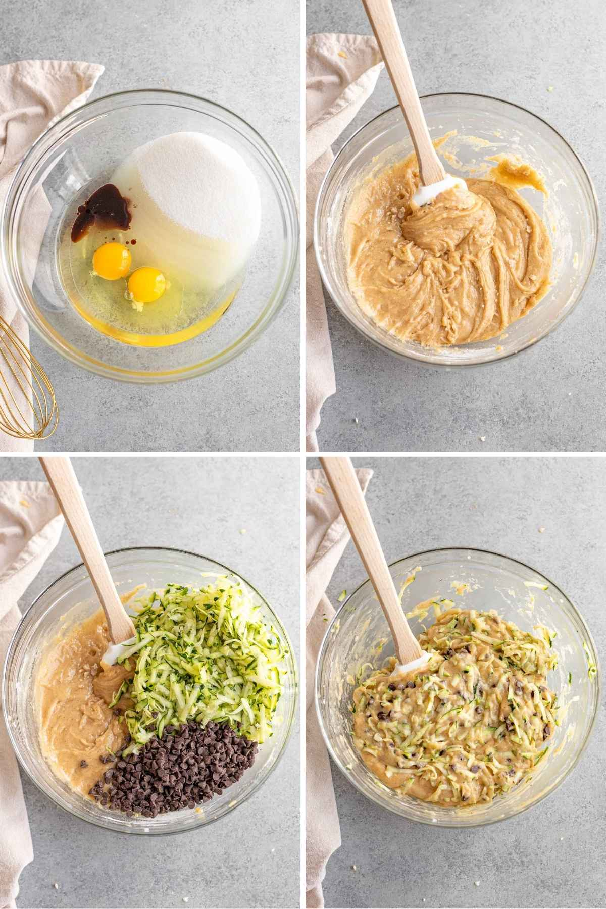 Chocolate Chip Zucchini Bread prep steps of mixing batter ingredients