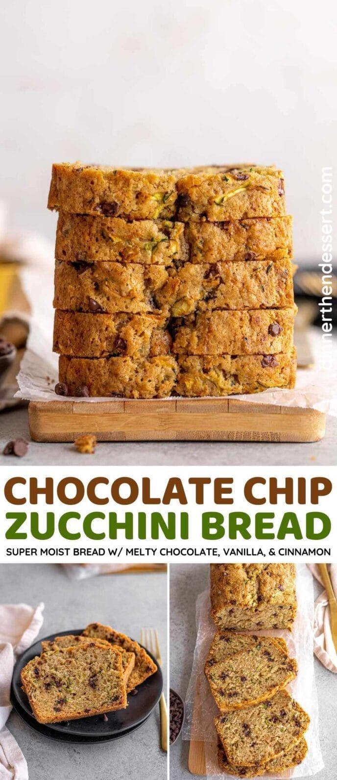 Chocolate Chip Zucchini Bread collage