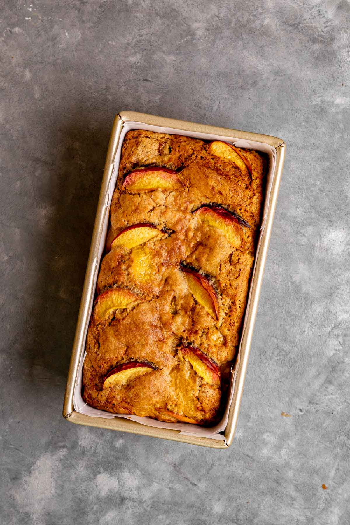 Cinnamon Peach Bread in loaf pan