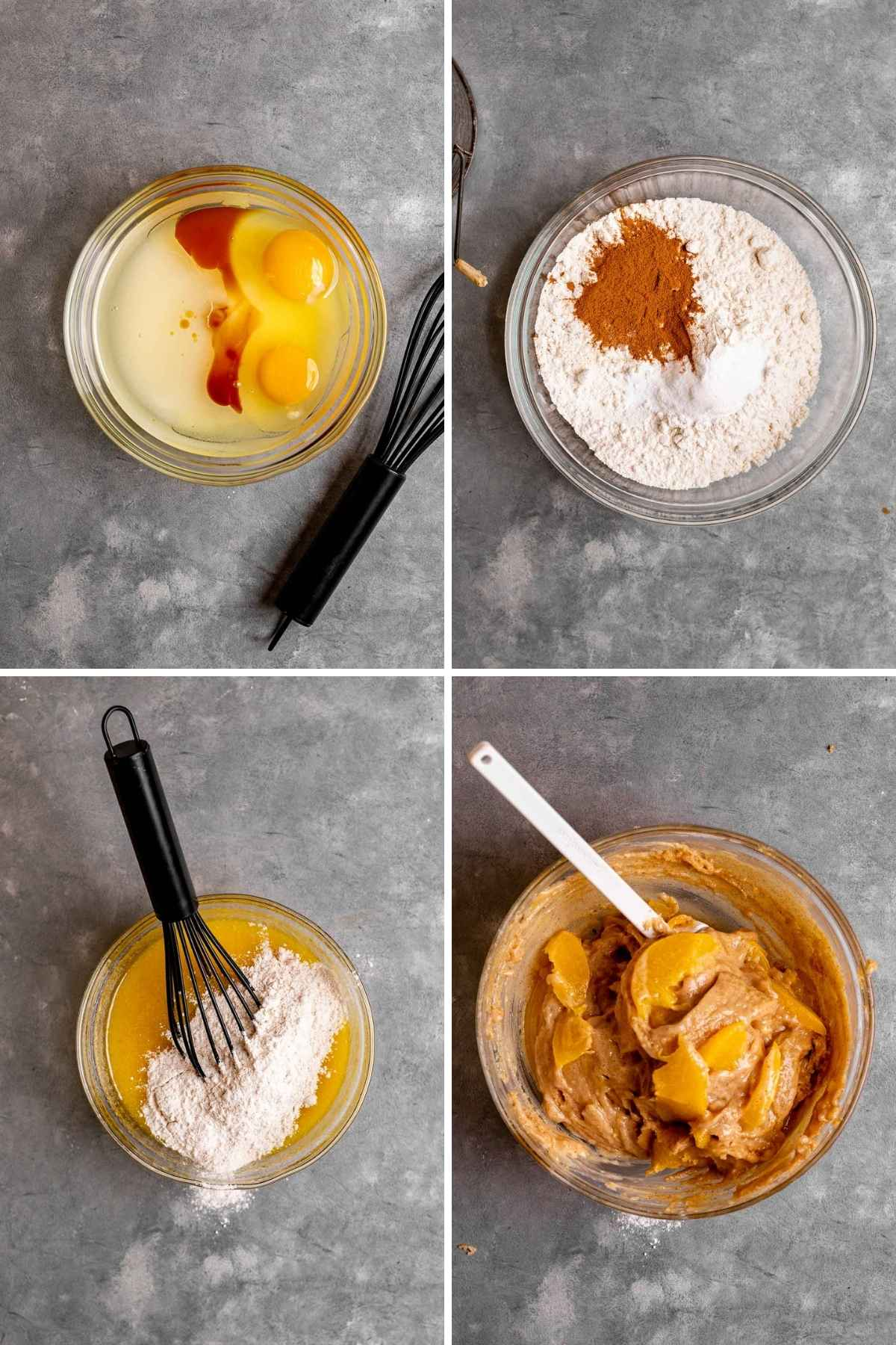 Collage of prep steps for Cinnamon Peach Bread