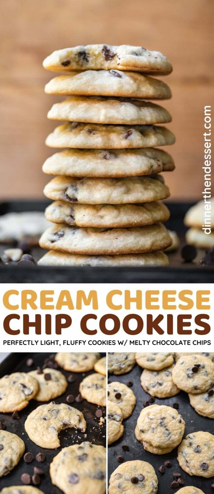 Cream Cheese Chocolate Chip Cookies collage