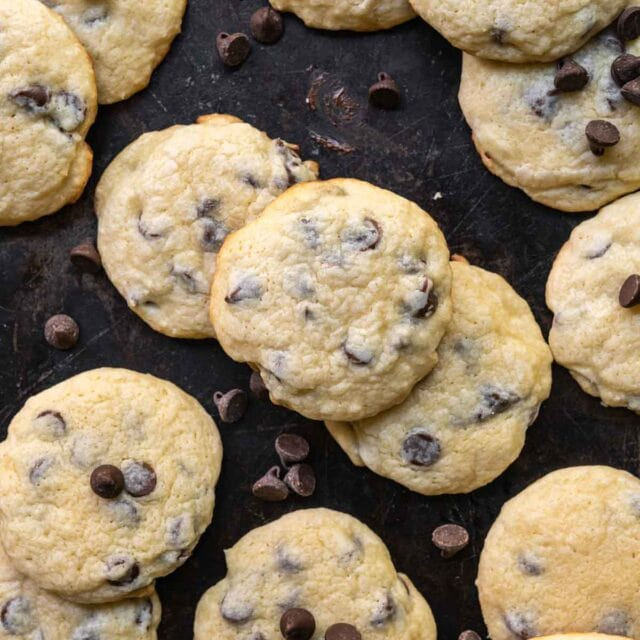 Cream Cheese Chocolate Chip Cookies on baking pan