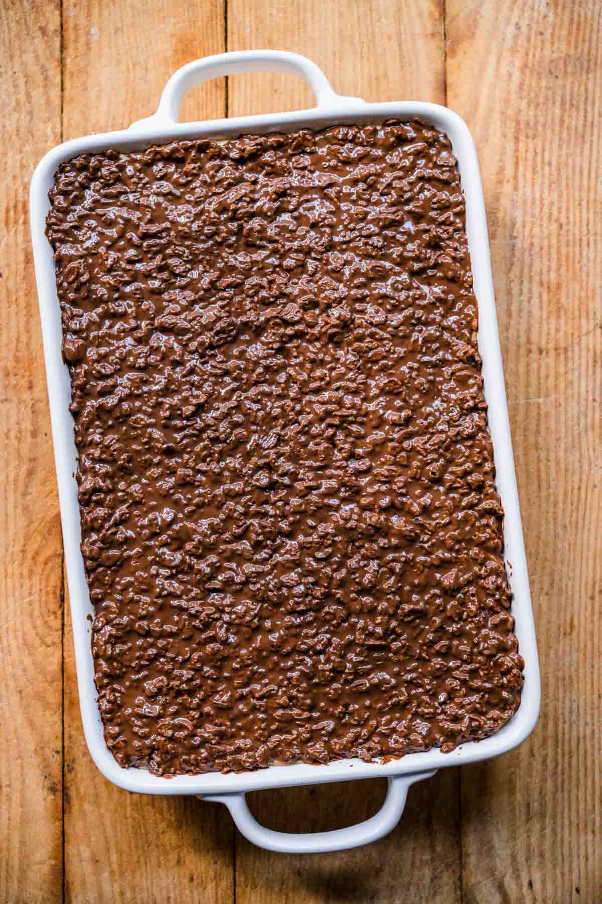 Finished Crispy Chocolate Peanut Butter Brownie Bars in baking dish