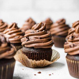 Dark Chocolate Cupcakes on cutting board