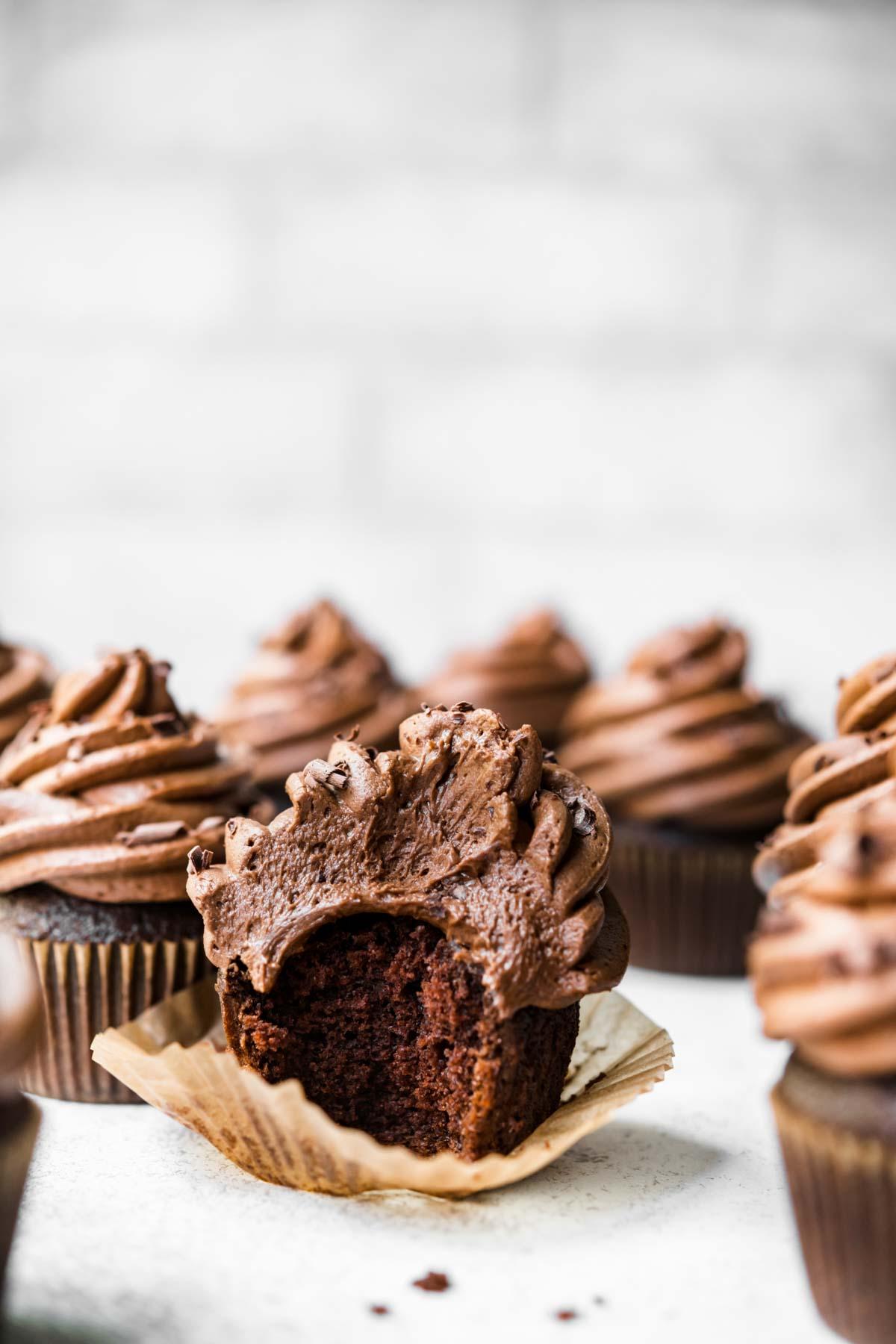 Dark Chocolate Cupcake bit in half